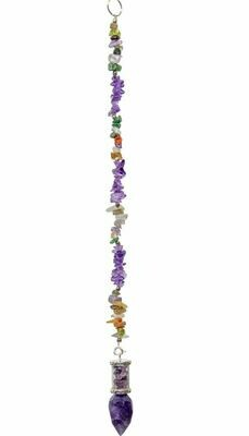 Glass Tube Pendulum with Faceted Amethyst Chips Pendulum