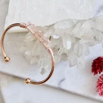 Wire Wrapped Quartz Cuff - Rose Gold