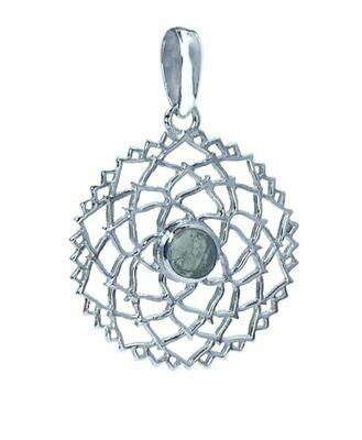Moldavite Flower of Life Mandala Pendant