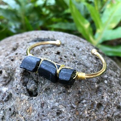 Black Tourmaline Gemstone Gold Bangle Cuff