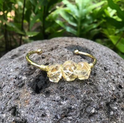 Citrine (Three Stone) Gemstone Gold Bangle Cuff Bracelet ~