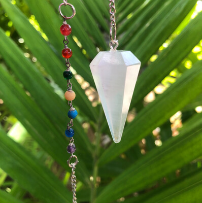 Selenite Chakra Pendulum ~