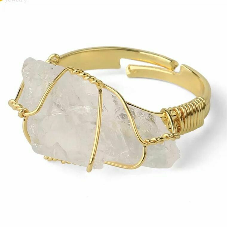 Crystal Quartz Rough Gemstone Gold Adjustable Ring ~