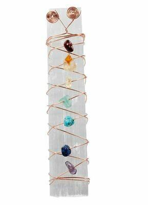 7 Chakra Selenite Wand, Rainbow Chips Stone Wire Wrapping