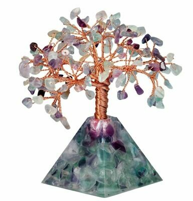 Natural Mixed Gemstone Pyramid Base Bonsai Tree