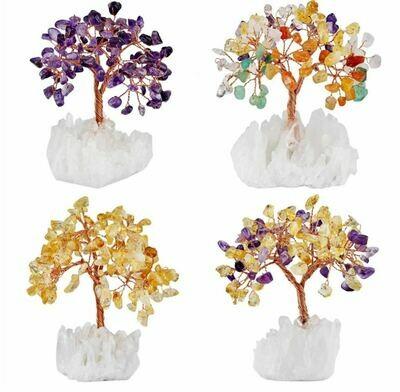 Gemstone Trees on Quartz Cluster Base