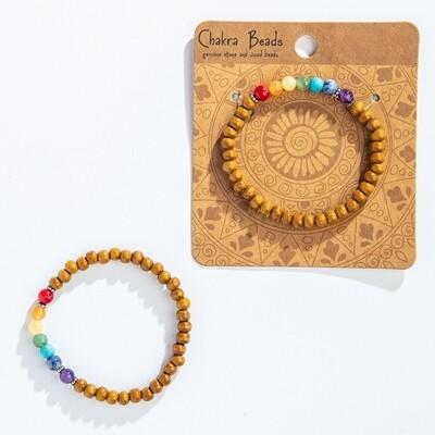 Gemstone Wood Chakra Bracelet