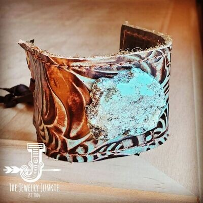 Leather Cuff w/ Tie-Turquoise Brown Floral w/ Turquoise Slab