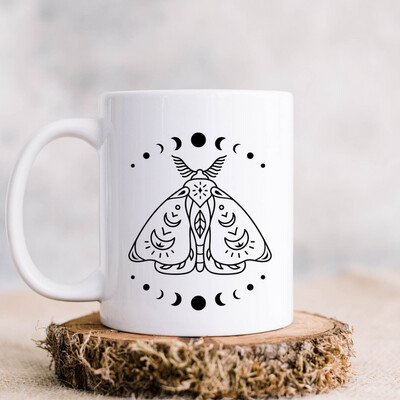 Moth Moon Phase Magic 11oz Ceramic Mug