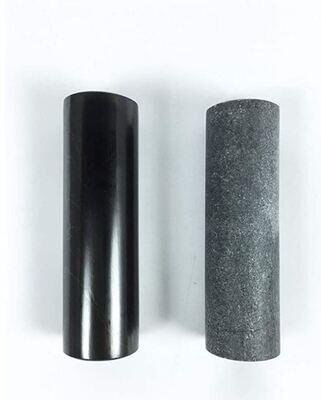 Genuine Shungite and Soap Stone Harmonizers Set of 2 Polished Healing Rods, 4