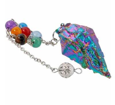 Rainbow Aura Titanium  Quartz Crystal Chakra Pendulum