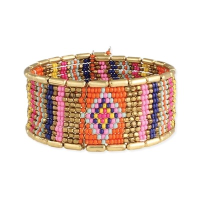 Native Chic Gold & Bead Cuff Bracelet