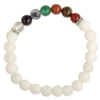 Purity & Balance Chakra White Stone Bracelet