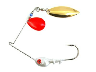 Spinnerbait Colorado Red/Willow Gold Plain Blades