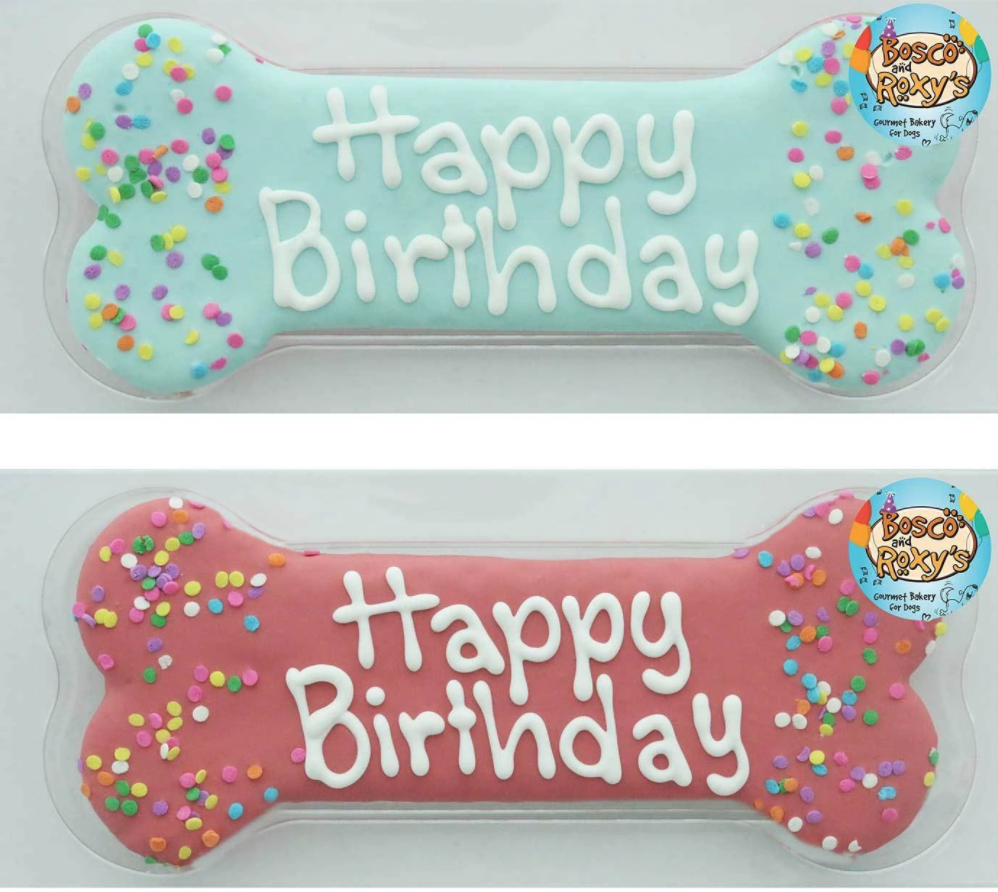 Happy Birthday Bone Cookie - 8""