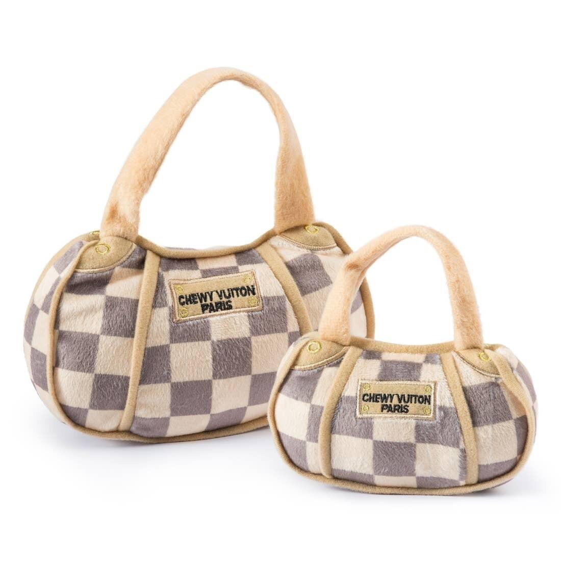 Chewy Vuitton Checker Handbag Toy