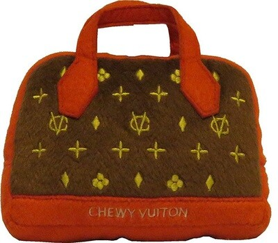 Chewy Vuitton Red Trim Purse Toy
