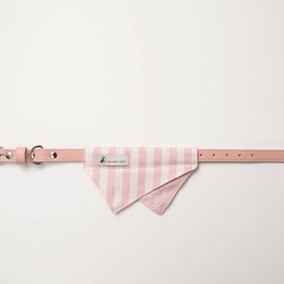 Bandana Collar - Pink & White Stripe