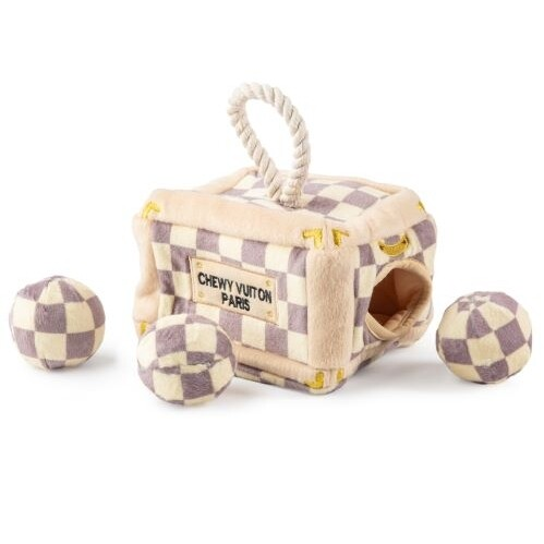 Chewy Vuitton Checker Trunk - Hide & Seek Toy