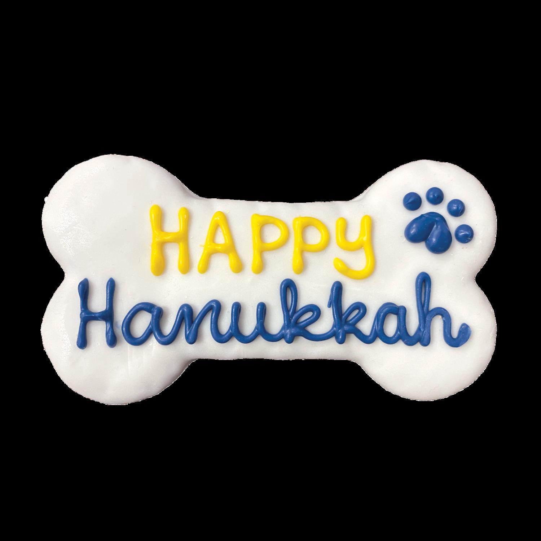 """Happy Hanukkah 6"""" Bone Cookie"""