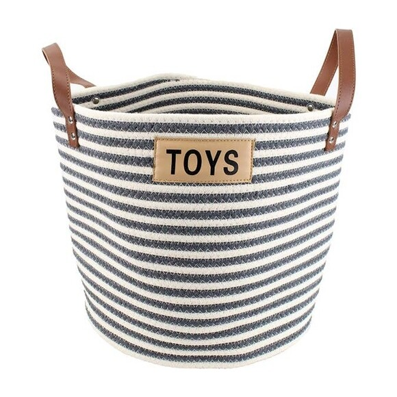 Cotton Rope Toy Bin with Leather Handles