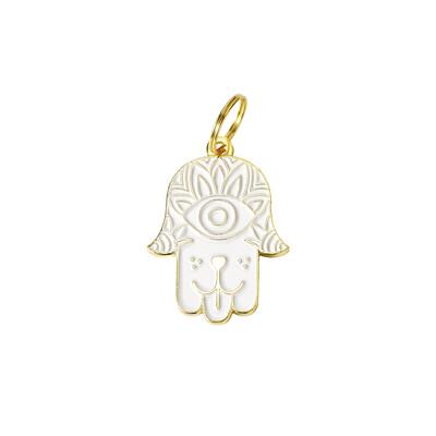 Hamsa Dog ( White/Gold ) Tag