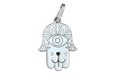Hamsa Dog ( White/Silver ) Tag