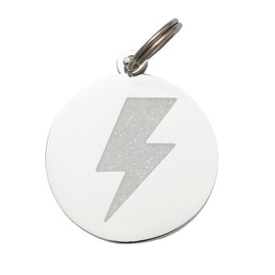 Lightening Bolt ( White/Silver ) Tag