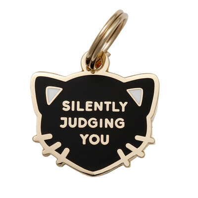 Silently Judging You ( Black ) Cat Tag
