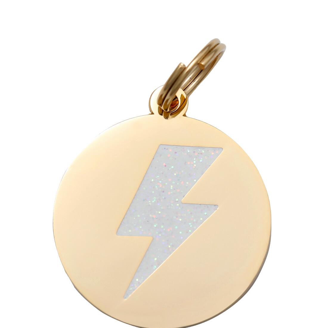 Lightening Bolt ( White/Gold ) Tag