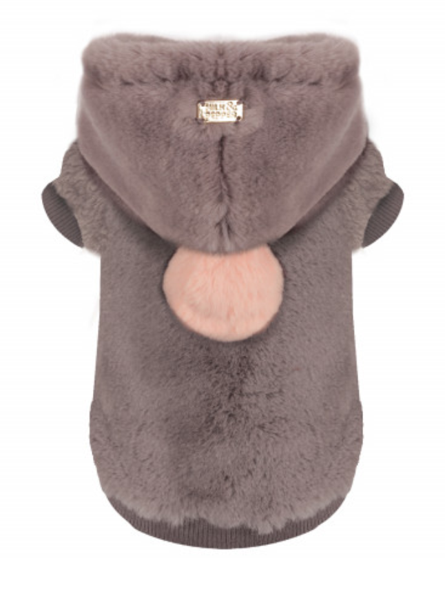 Luxury Vegan Fur Hoodie - Grey