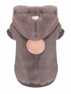 Luxury Vegan Fur Hoodie - Grey