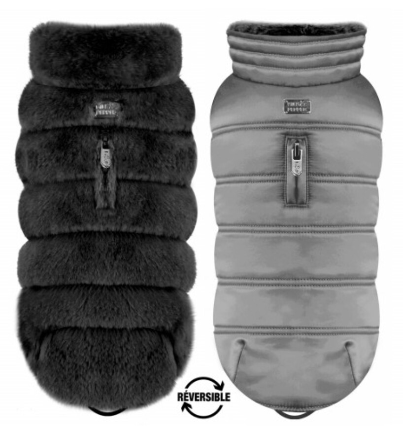 Reversible Luxury Black Vegan Fur Coat