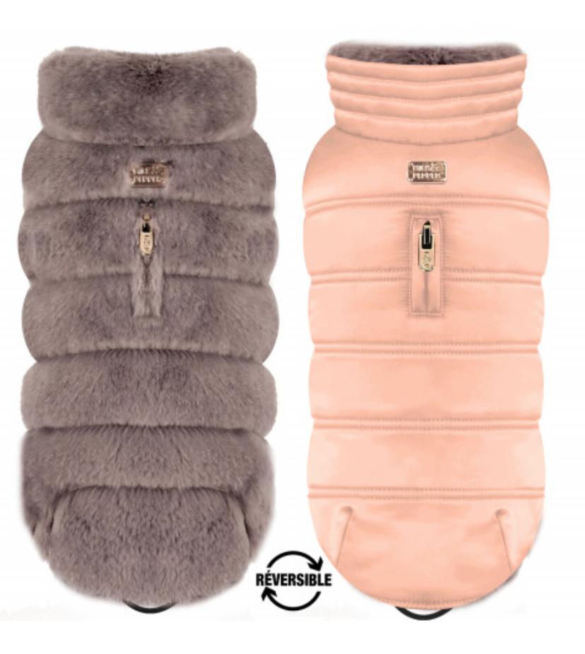 Reversible Luxury Grey Vegan Fur Coat