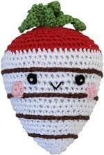 Organic Crochet White Chocolate Strawberry Toy