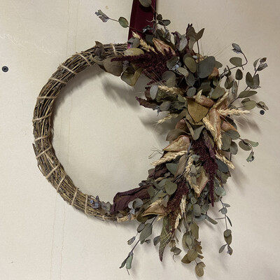 Amaranth & Eucalyptus Dried Flower Wreath