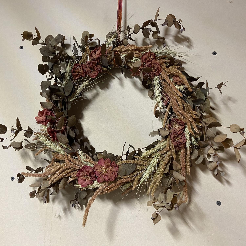 Japonica, Eucalyptus & Wheat Dried Flower Wreath