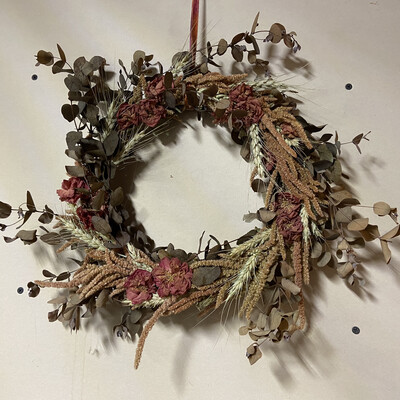 Japonica, Eucalyptus & Wheat Dried Flower Wreath