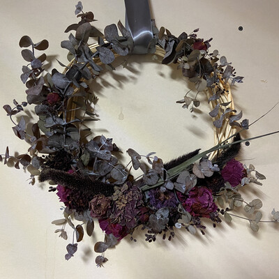 Peony, Dahlia & Eucalyptus Dried Flower Wreath