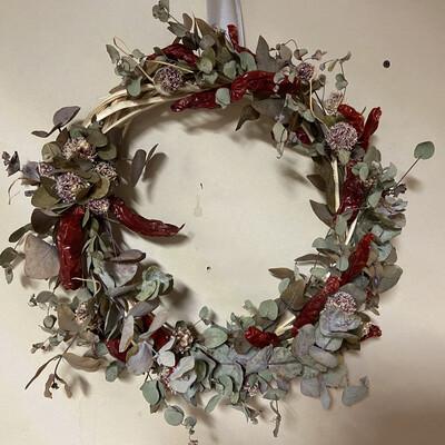 Hot Pepper, Garlic And Eucalyptus Dried Flower Wreath