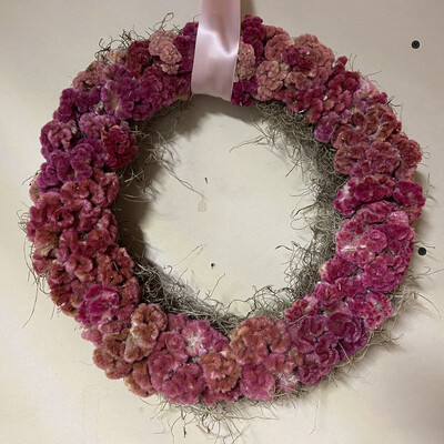 Pink Celosia Dried Flower Wreath