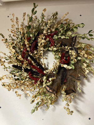 Golden Boxwood & Feathers Dried Flower Wreath