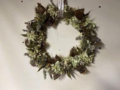 Hydrangea & Feathers Dried Flower Wreath