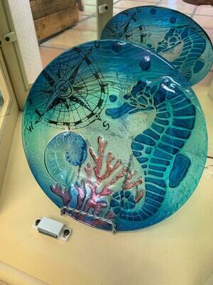 Decorative Glass Seahorse And Coral Round Plate