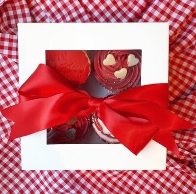 4 Valentines Iced Cupcakes