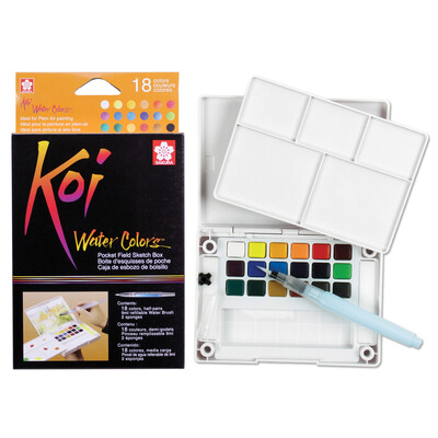 Koi Watercolor Pocket 18 Color Field Sketch Box