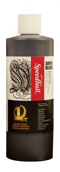 Speedball Super Black India Ink 16 oz