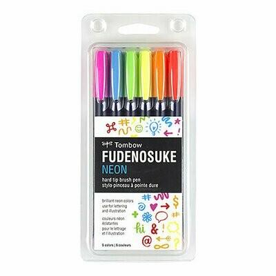 Fudenosuke Colored Brush Pen Sets, 6-Pen Neon Set