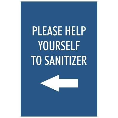 Please Help Yourself to Sanitizer - Sign, Arrow Pointing Left