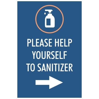 Please Help Yourself to Sanitizer - Sign, Arrow Pointing Right